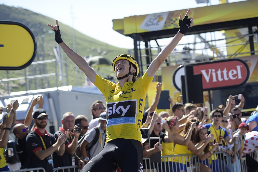 14 July 2015 102nd Tour de France Stage 10 : Tarbes - La Pierre-Saint-Martin 1st : FROOME Christopher (GBR) Sky, Maillot Jaune Photo : Yuzuru SUNADA